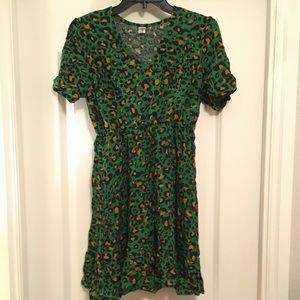 Leopard green and gold mini dress w ruffled bottom
